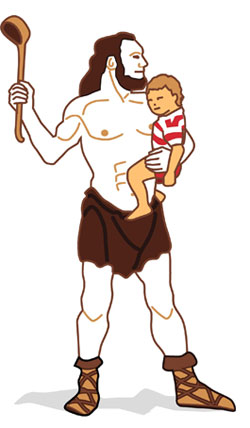Cro-Magnon Man and baby child