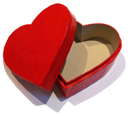 Make your own heart shaped paper mache box