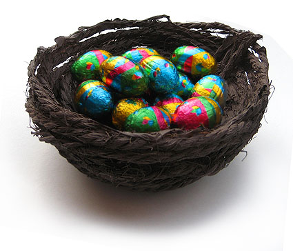 fill your nest with tiny foil wrapped eggs