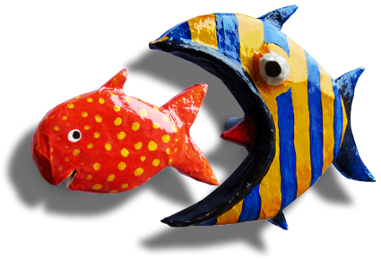 Make your own reinforced paper maché fish handles