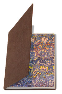 handmade notebook bound in brown material