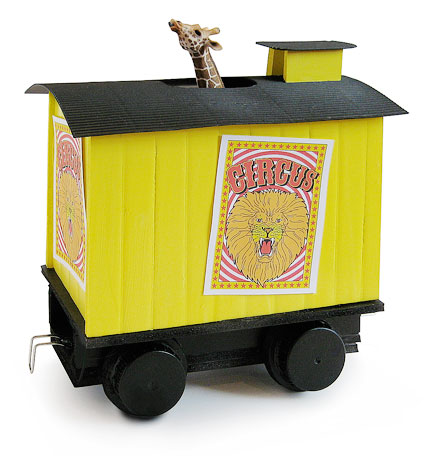 Steam train Circus Giraffes Boxcar carriage