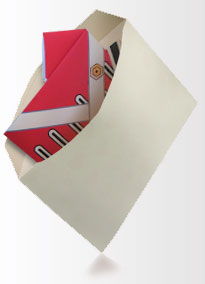 Homemade envelope with dadcando origami shirt inside