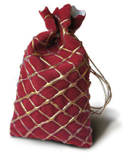 Dragonhide pouch with gold twine cord