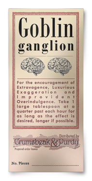 Antique apothecary Goblin ganglion label