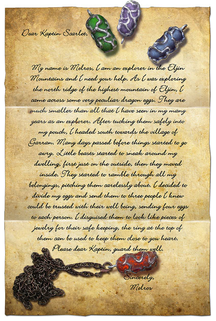 Letter to Kaptin Scarlet from Melros